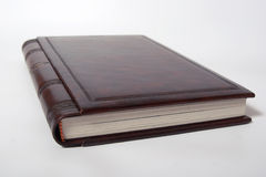 Photobook cover from natural leather stamping Royalty Free Stock Images
