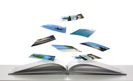 Photobook with Photos of Beach Scenes Floating Royalty Free Stock Photos