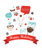 Photobooth Birthday  and new year party set Royalty Free Stock Photo