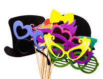 Photobooth Birthday and Party Set glasses, hats, crowns, masks, lips, mustaches Stock Photo