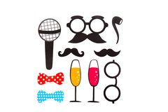 Photobooth Birthday and Party Set - glasses, hats Royalty Free Stock Photography
