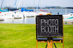 Photobooth Chalkboard Sign at Wedding Royalty Free Stock Image