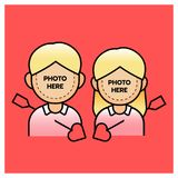 Photobooth couple boy and girl with arrow, happy valentine's day. Vector illustrator Stock Image