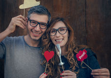 Photobooth fun couple Stock Photography