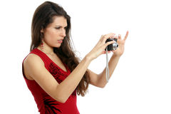 photocamera妇女 免版税库存照片