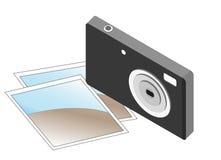 Photocamera compacto del negro 3d con dos fotos Imagenes de archivo