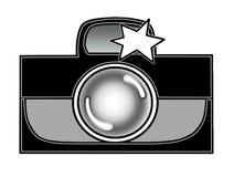 Photocamera con de destello se ennegrece/blanco foto de archivo libre de regalías