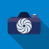 Photocamera icon on the blue background. Eps 10 vector file Royalty Free Stock Image