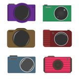 Photocamera icons. Colored photocamera icon set, Retro style. Vector illustration stock illustration