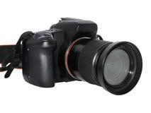 Photocamera op een wit wordt geïsoleerd dat Stock Foto's