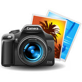 Photocamera with pictures. Vector photo camera with pictures Royalty Free Stock Photography