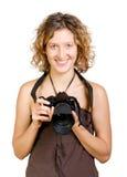 Photocamera sonriente hermoso joven de la explotación agrícola de la mujer imagenes de archivo