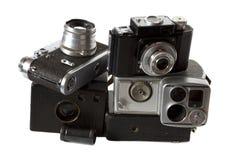 Photocamera viejo, photoaccessories aislados Fotos de archivo