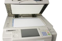 Photocopier. Scanning bed of open photocopier Stock Image