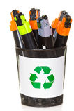 Photocopier cartridges in a bucket. Photocopier cartridges to recycle in a bucket isolated on white Stock Images