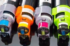 Photocopier printer cartridges. Cmyk close up shot Stock Photo