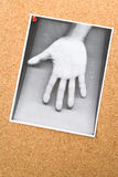Photocopy of hand on the Bulletin Board Royalty Free Stock Photo