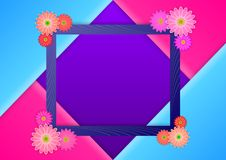 Photoframe με τα λουλούδια στις γωνίες, στο διπλωμένο τρίγωνο των χρωμάτων καραμελών ελεύθερη απεικόνιση δικαιώματος