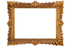Photoframe. Gold photoframe on a white background Royalty Free Stock Photos