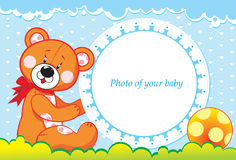 Photoframe with bear cub Stock Photography