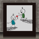 Photoframe con due doodles nell'amore Fotografie Stock