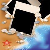 Photoframe do verão com concha do mar Fotos de Stock Royalty Free