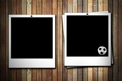 Photoframe dois com esfera de futebol Imagens de Stock