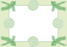 Photoframe with fir-tree branches. Photoframe with abstract curves and branches of a fir-tree Stock Image