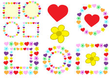 Photoframe with hearts and flowers Royalty Free Stock Photo