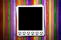 Photoframe with soccer ball Royalty Free Stock Photography