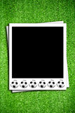 Photoframe with soccer  ball Stock Photos