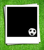 Photoframe with soccer  ball Royalty Free Stock Image