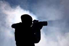 Photografer. Working in winter time Royalty Free Stock Photography