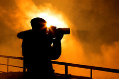 Photografer. Working in winter time Royalty Free Stock Images