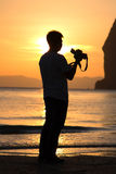 Photograher. The photographer on the beach royalty free stock images