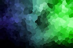 Abstract geometric polygons and triangles. A photograph of an abstract geometric pattern from various polygons and triangles of  blue and green Stock Photo