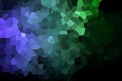 Abstract geometric polygons and triangles. A photograph of an abstract geometric pattern from various polygons and triangles of green and blue Stock Photo