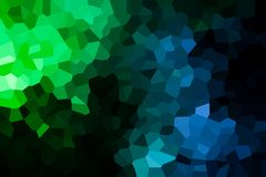A photograph of an abstract geometric pattern. From various polygons and triangles of green, blue and white Stock Images