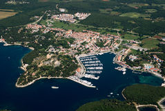Photograph from air of Vrsar in Istria,Croatia royalty free stock photos