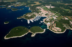 Photograph from air of Vrsar in Istria,Croatia royalty free stock images