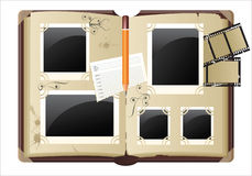 Photograph album. Retro-styled photograph album with empty photos frames stock illustration