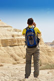 Photograph with backpack Royalty Free Stock Photography