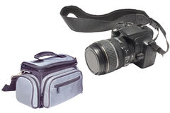 Photograph bag and camera Stock Photo