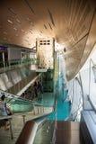 Dubai metro station interior. Photograph of beautiful interior of Dubai metro station, metal, steel, glass construction, Dubai, Arabian Emirates stock image
