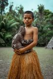 Boy with Animal. This is a photograph of a boy with animal Stock Photos