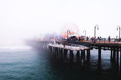 Photograph of Bridge Covered by Fog Stock Photography