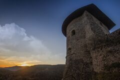 Photograph of Brown Temple Near Mountains during Sunset Royalty Free Stock Photography