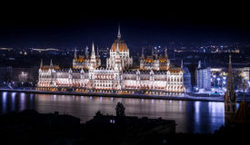 Budapest parliament building. Photograph of Budapest parliament building at night, view from Bastion, Hungary Stock Photo