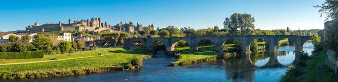Cacassonne bridge panorama. Photograph of Cacassonne bridge panorama, France royalty free stock photos