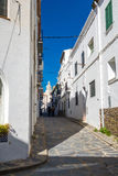 Cadaqués street. Photograph of Cadaqués promenade in a sunny day, Cadaqués, Catalonia, Spain stock image